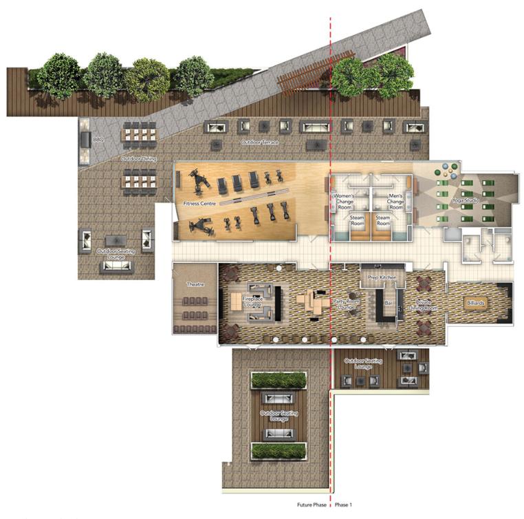 Club avani amenity floorplan image courtesy of tridel for Roof garden floor plan