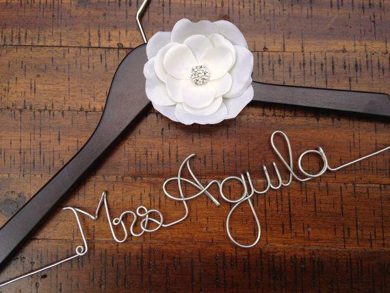 Wedding Hanger Ivory Rhinestone Flower, Bridal Hanger, Personalized Bride Hanger, Bride Gift, Name Hanger, Flower, Mrs Hanger