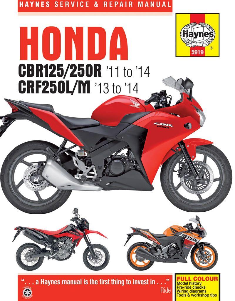 Haynes Manual 5919 Honda Cbr125r Cbr250r Crf250l M 11 14