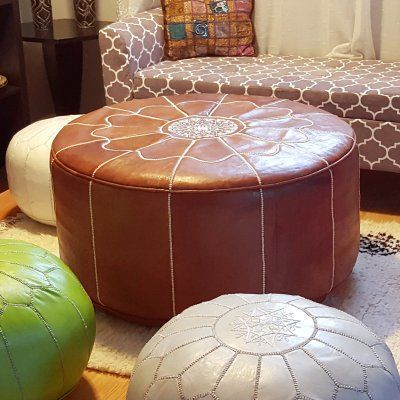 Ikram Design Genuine Leather XL Round Moroccan Pouf Ottoman RXL40 Custom Poufs On Sale