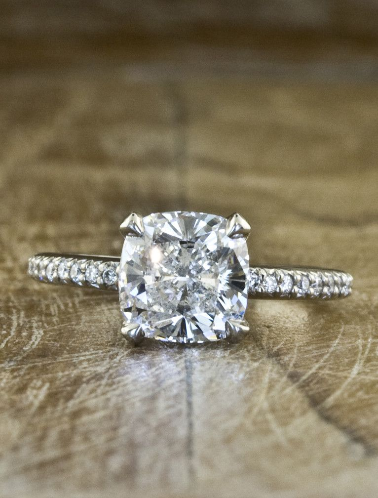 THIS IS THE ONE - cushion cut solitaire with pave band. Simple Engagement  Rings ...