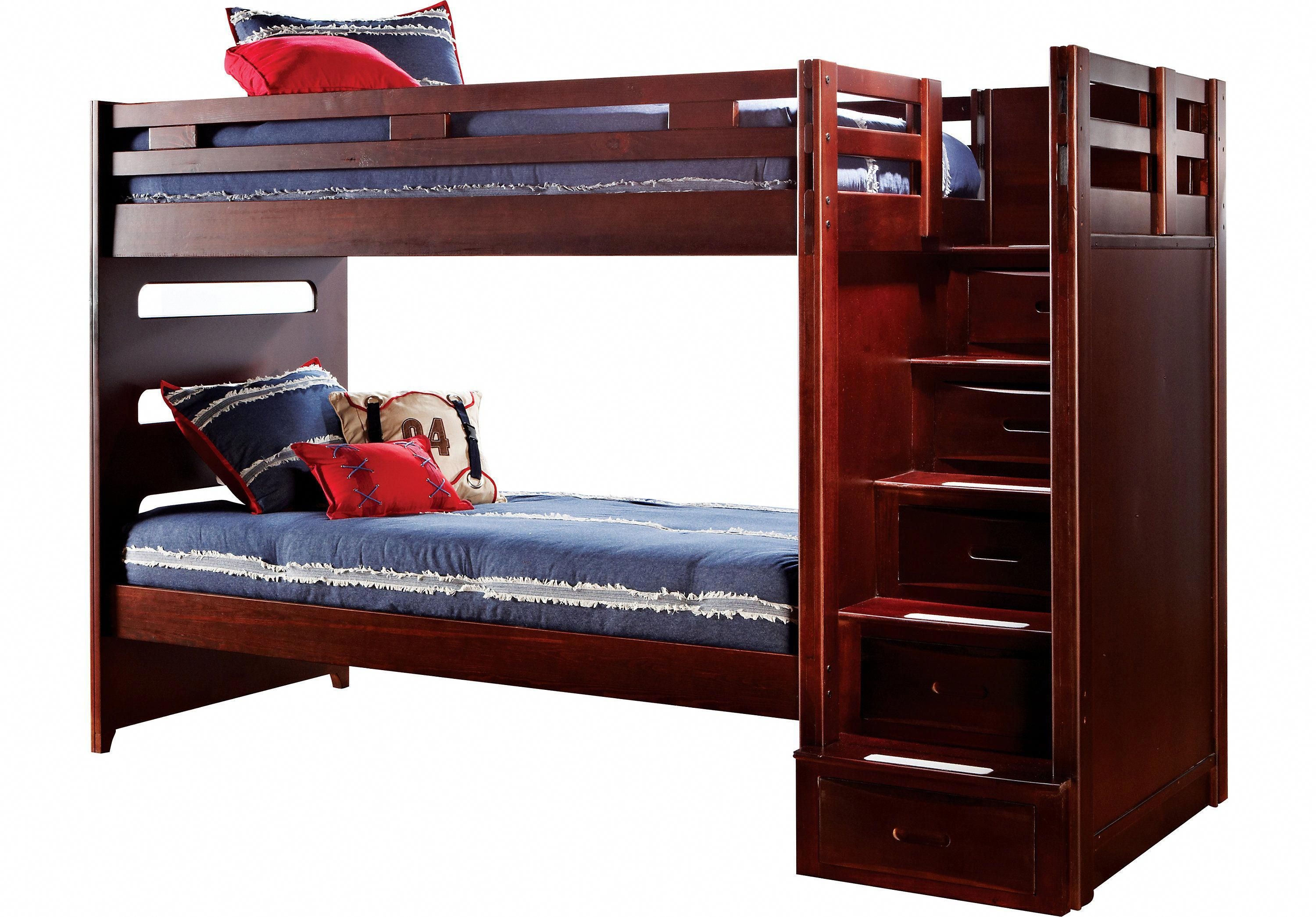 Picture Of Ivy League Cherry Twin Step Bunk Bed From Beds