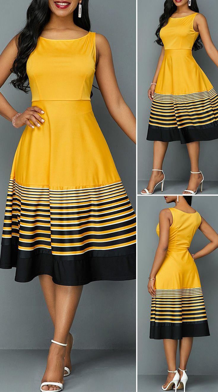 Sleeveless Stripe Print High Waist Dress