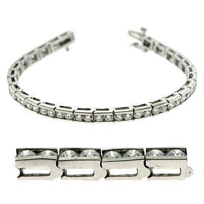 14K White Gold 5.77cttw Double Channel Set Round Diamond Tennis Bracelet-----