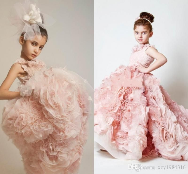 Pink Flower Length Tiered Flower Girl Dresses Flouncing Ruffles ...