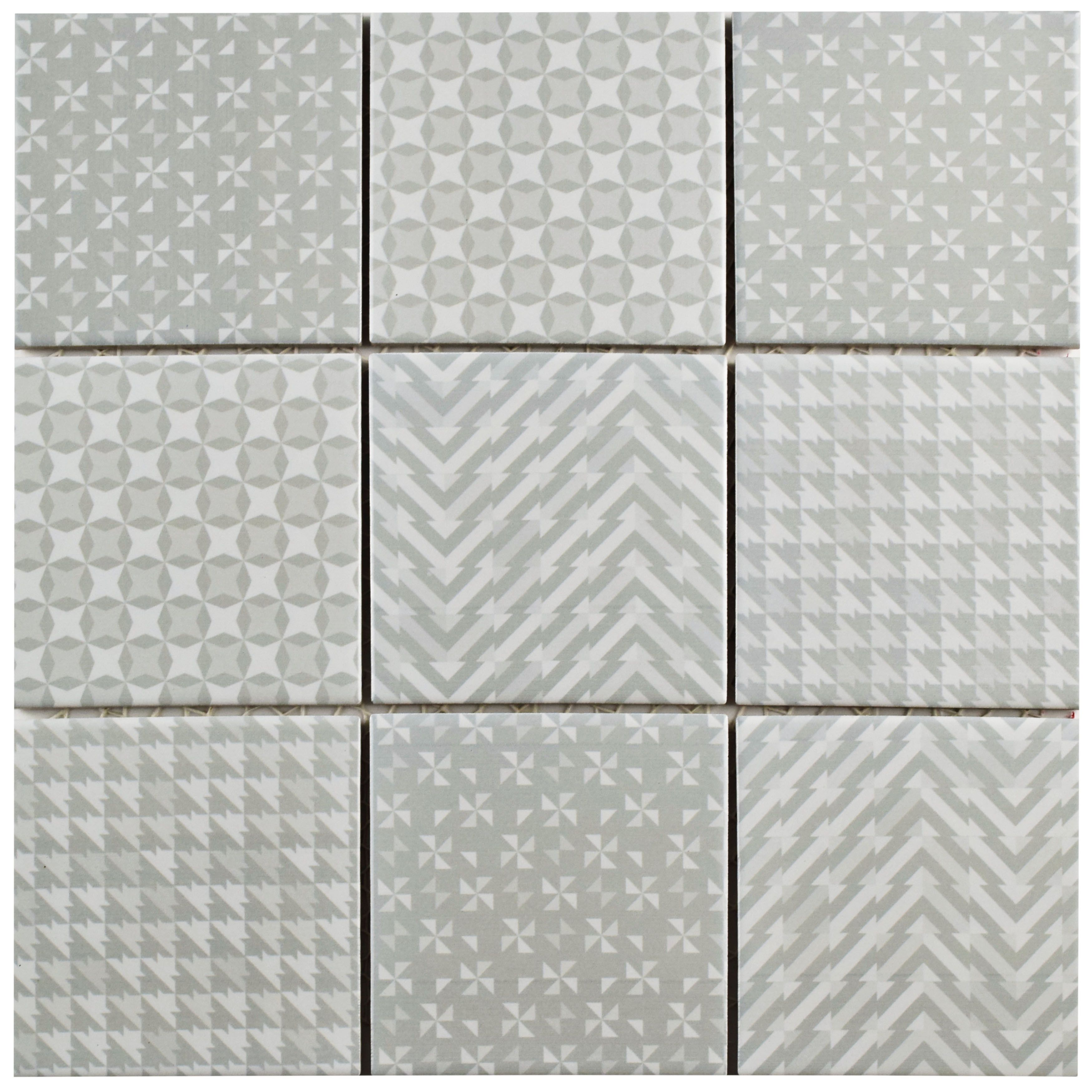 The SomerTile 11.625x11.625 Inch Geoshine Grey Porcelain Floor And Wall Tile  Captures