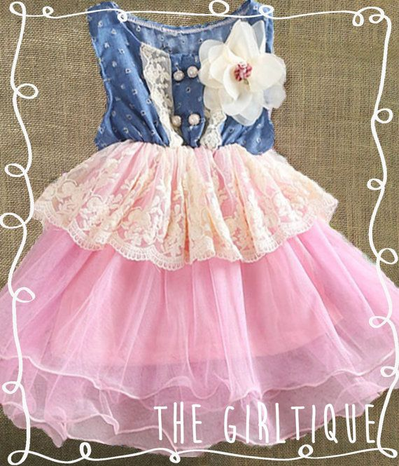 f9c0da6eb Baby Girl Clothes - First Birthday Outfit - Denim Pink Tutu Lace - Country  - 1st Birthday - Cute Baby Girl Clothes - Lace Dress - Tutu by  TheGirltique, ...