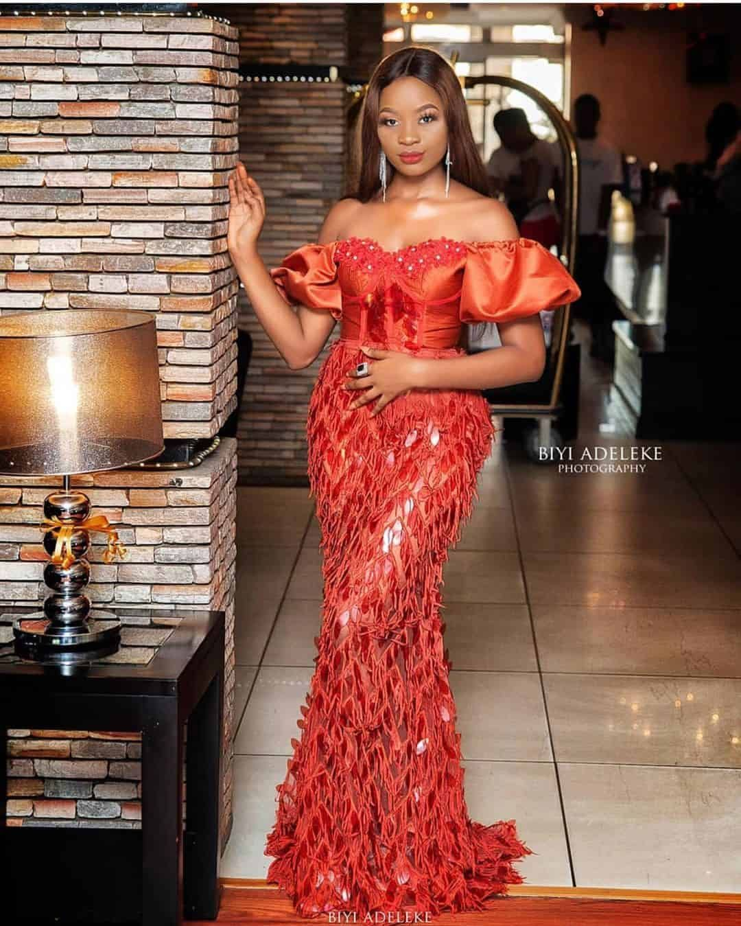 50 Latest Aso Ebi Styles For 2020 Updated Weekly Thrivenaija In 2020 Lace Gown Styles Lace Dress Styles Nigerian Lace Styles