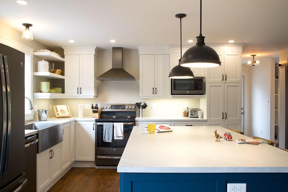 modern farmhouse kitchen industrial pendants stainless farmhouse sink navy oversized on farmhouse kitchen navy island id=15781