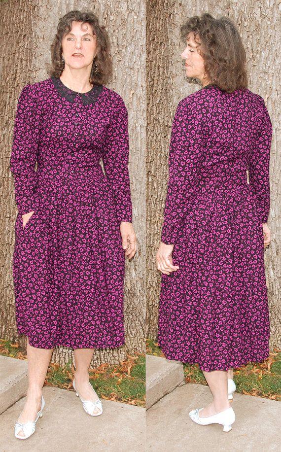 Vintage cotton 80s dress black lace collar size 5/6 by YustaWas, $32.00
