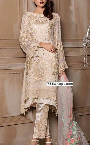 3ac64585c450 Off-white Chiffon Suit | Buy Pakistani Chiffon Dresses | Muslim ...