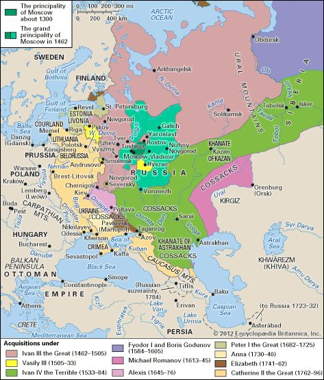 The Growth of the Russian state in Europe and Western Asia, 1300 ...