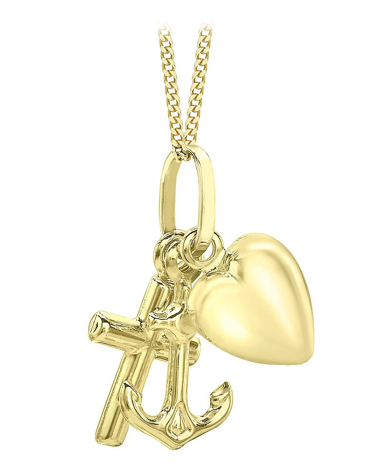 Carissima Gold 9ct Yellow Gold Faith, Hope and Charity Charm
