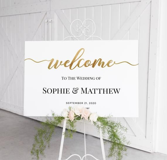 Wedding welcome sign, Gold welcome sign template, Modern, Script, Calligraphy welcome sign, Editable template, Instant download #weddingwelcomesign
