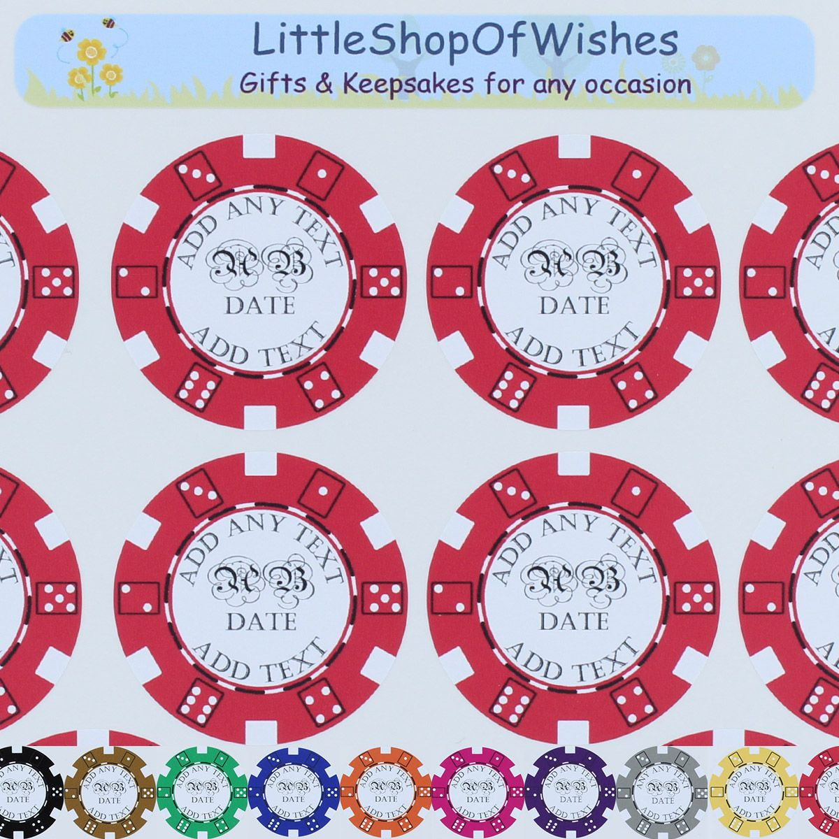 Poker Chip Stickers Casino Theme Wedding Favours Personalised Vinyl ...