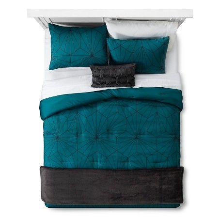 Linework Geometric Comforter Set (Full/Queen) 3-Piece Teal - Room Essentials™ : Target