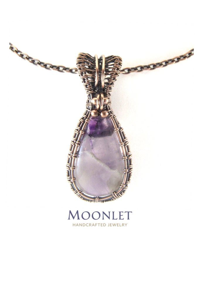Amethyst shield antique copper pendant necklace wire wrap jewelry aloadofball Image collections