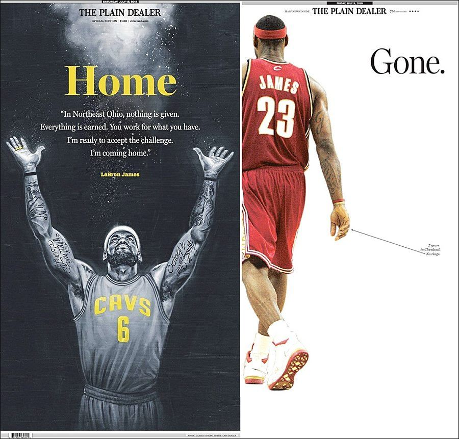 See here the cover 4 years ago and todays cover The Plain Dealer about Lebron James