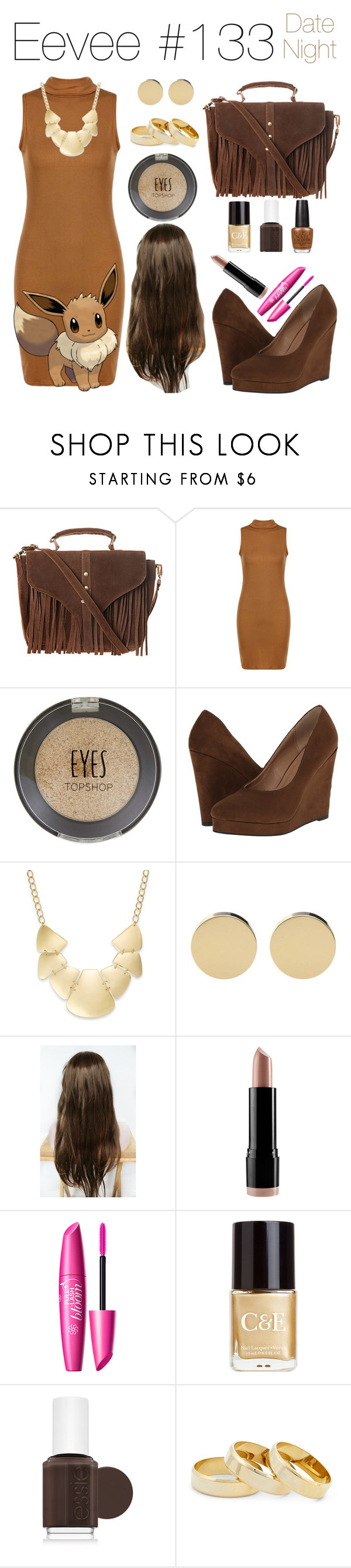 """""""Eevee: Date Night"""" by southwestsweetheart ❤ liked on Polyvore featuring Topshop, Michael Antonio, Bar III, NYX, Crabtree & Evelyn, Essie, OPI and Sole Society"""