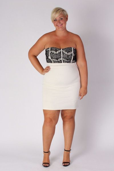 plus size clothing for women strapless fitted dress ivory sizes 12 18 society. Black Bedroom Furniture Sets. Home Design Ideas
