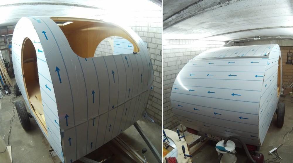Finishing the aluminum skin of tearcuby trailer next step