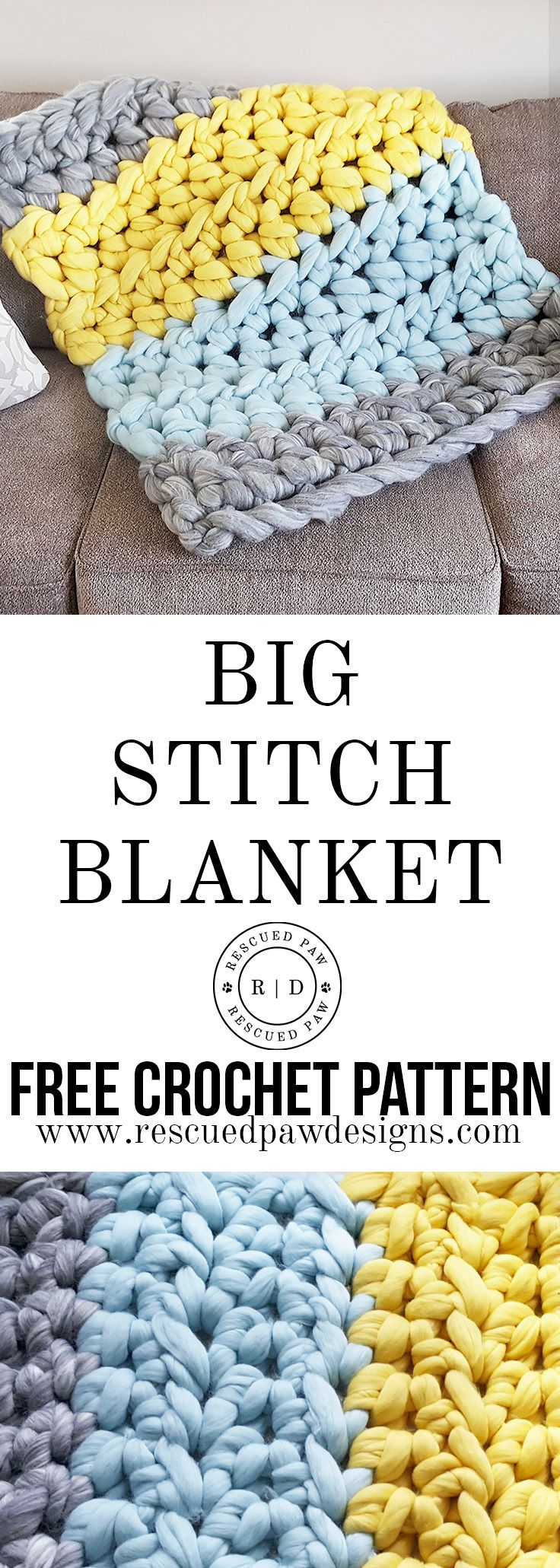 BIG STITCH EXTREME CROCHET BLANKET PATTERN - FREE Pattern! | Manta ...