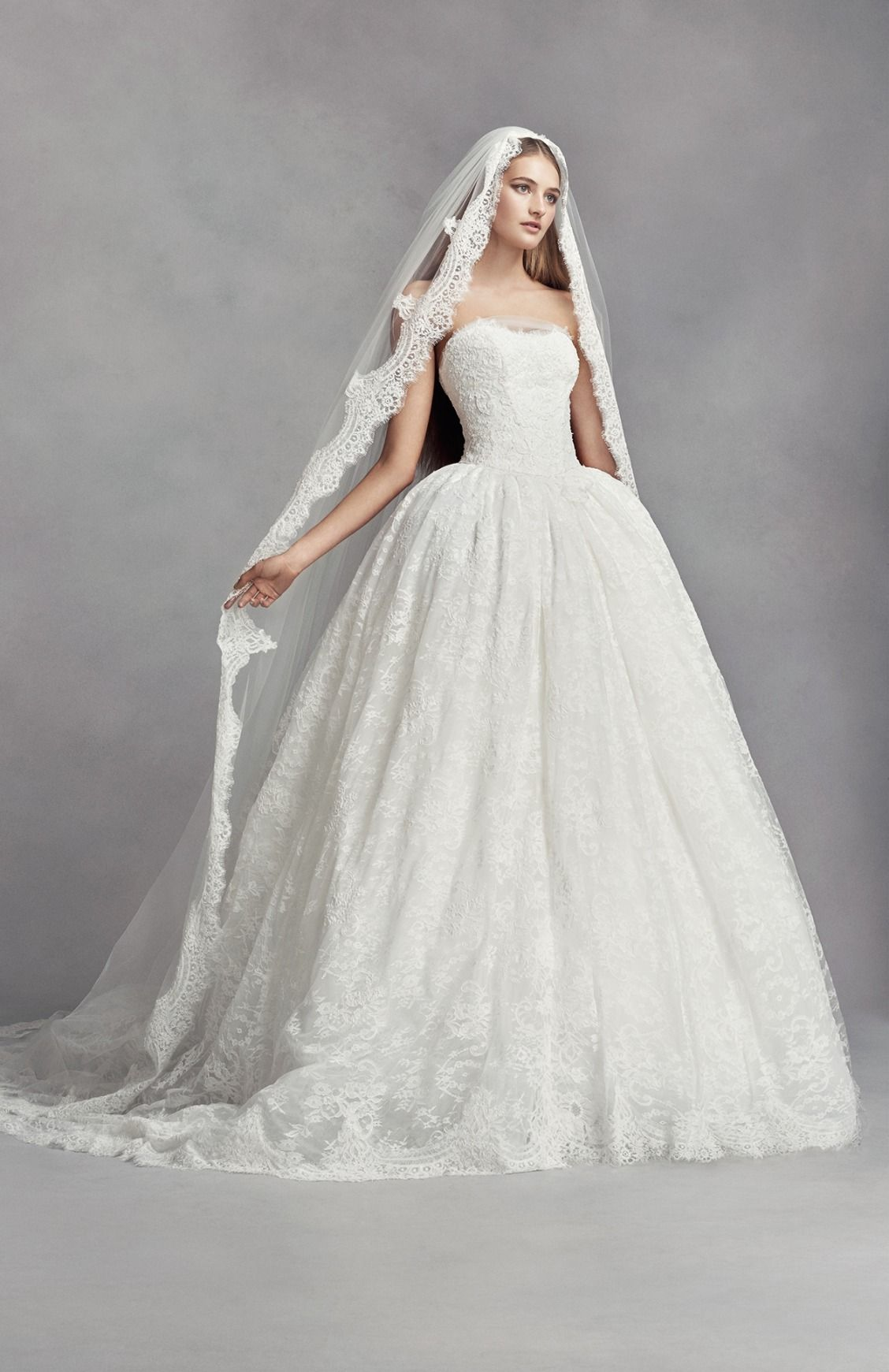 9ec996337220 Ivory Lace Appliqued Mantilla-Style Cathedral Veil by White by Vera Wang  available at David's