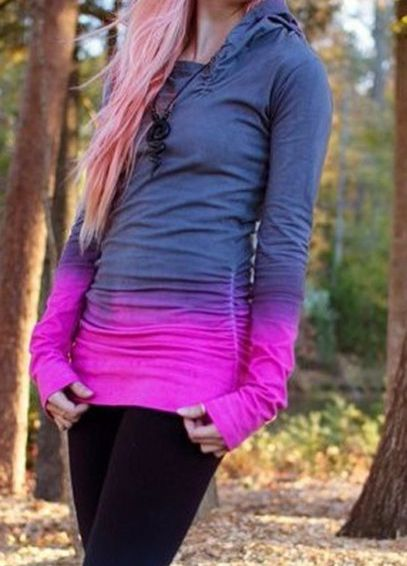 Hooded Ombre Color T-Shirt | Tie dye fashion, Fashion ...