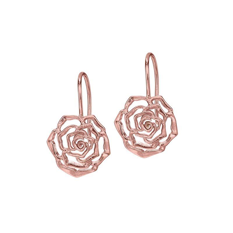 18ct Rose Gold Vermeil 15mm Wild Rose Flower Drop Earrings Gold Vermeil Drop Earrings Rose Gold