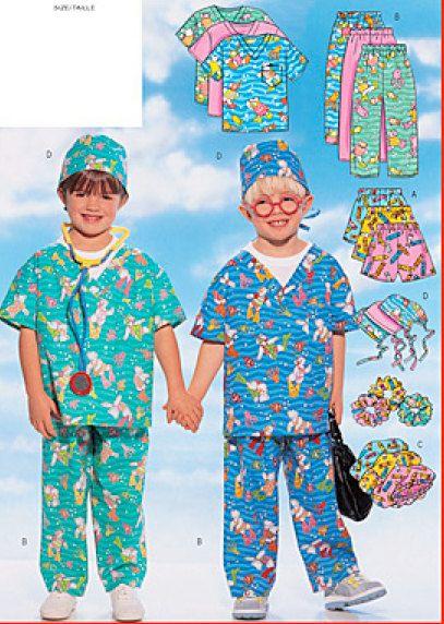 CHILD SCRUBS Sewing Pattern Pajamas Costume Play Scrub Halloween Unique Scrub Patterns