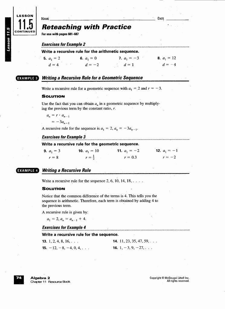Geometric Sequences Worksheet Answers Unique Arithmetic ...
