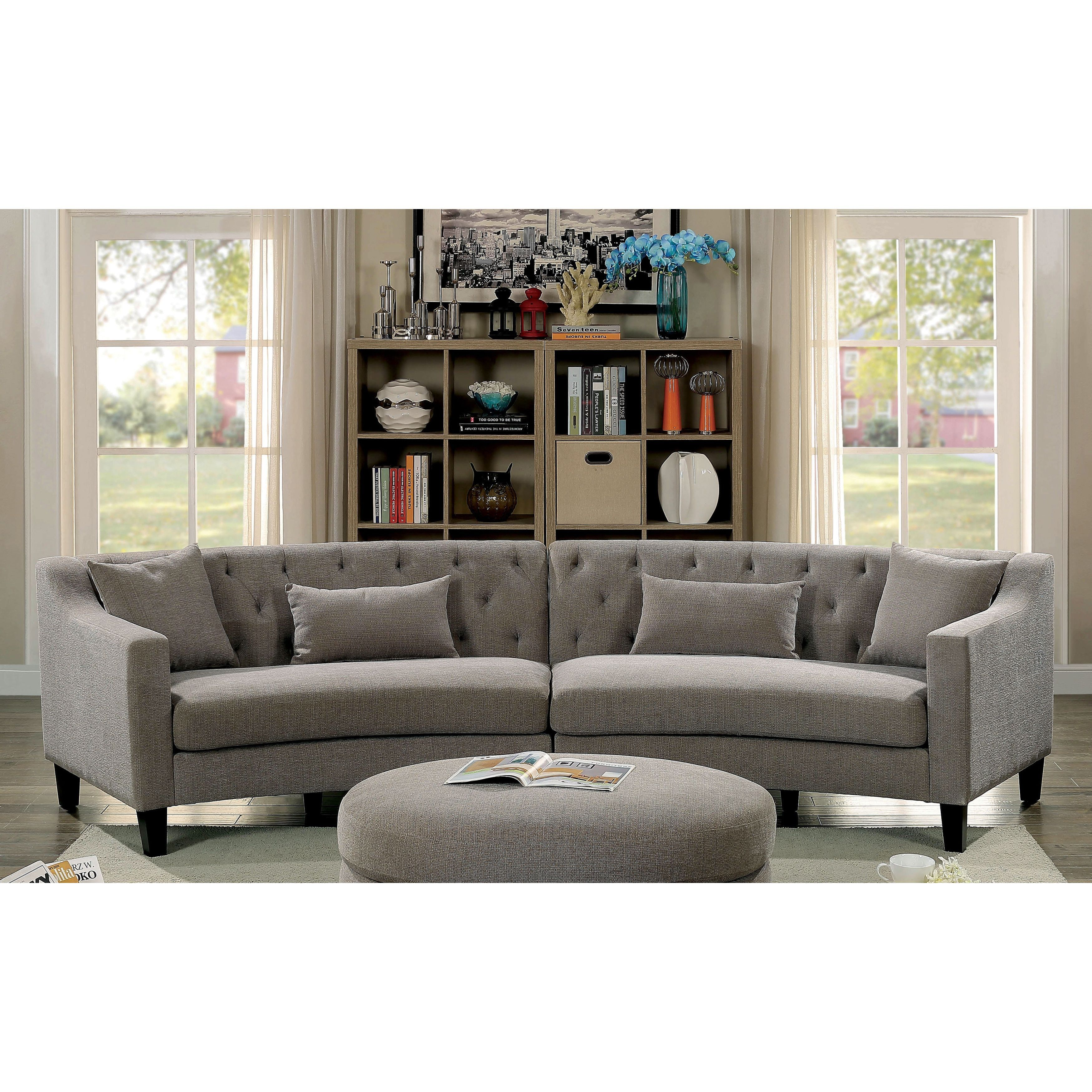 Etonnant Aretha Contemporary Grey Tufted Rounded Sectional Sofa By Furniture Of  America (Warm Grey) (Foam)
