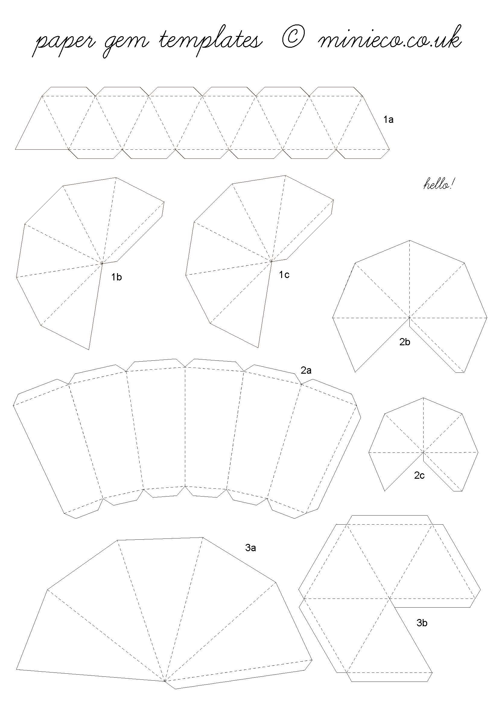 photo about 3d Paper Mask Template Free Printable identified as paper gem template 07. crafts Paper diamond, Origami