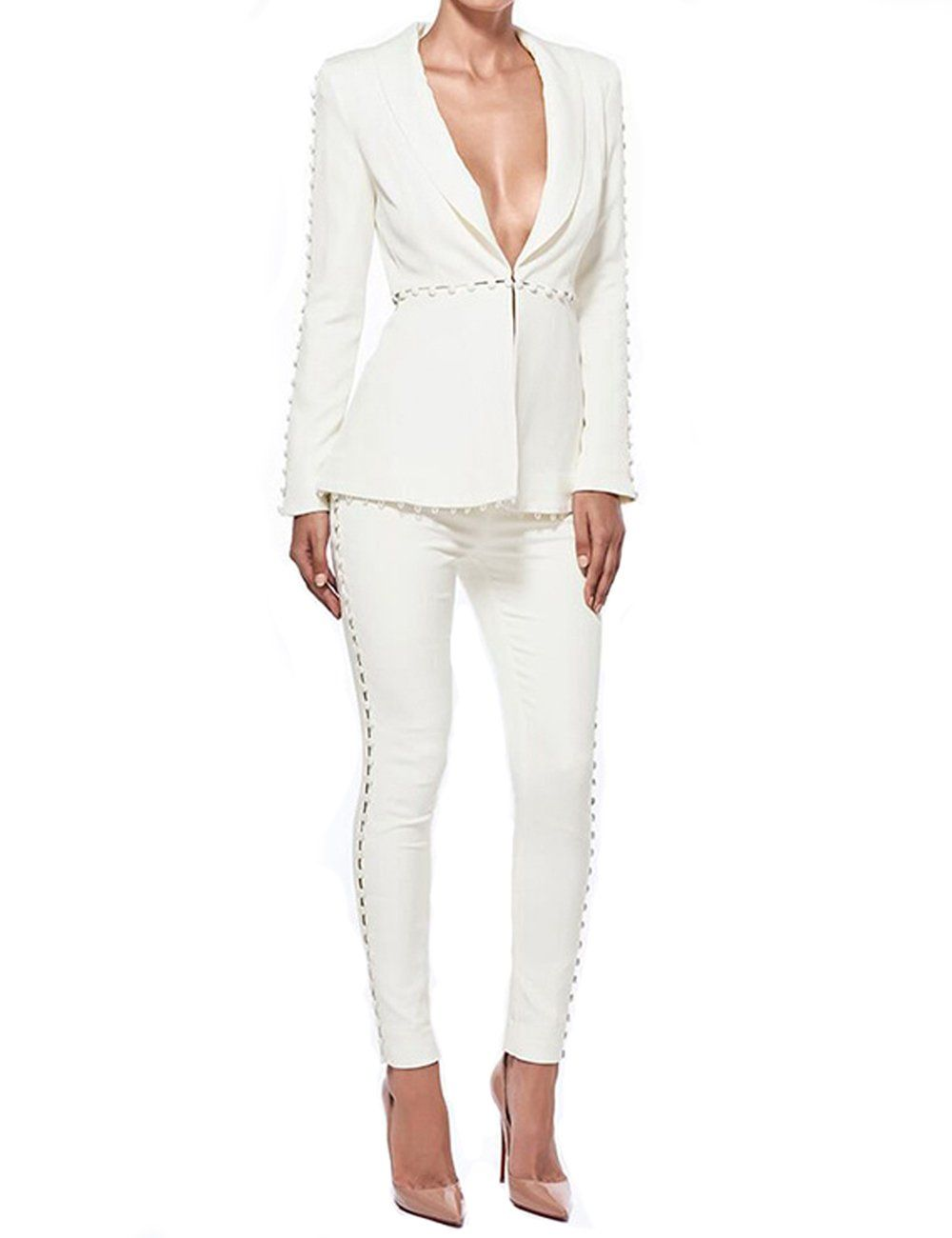 acadada2cfb2 UONBOX Womens Cut Out 2 Pieces Slim Fit Blazer Jacket and Pants Suit Set S  White