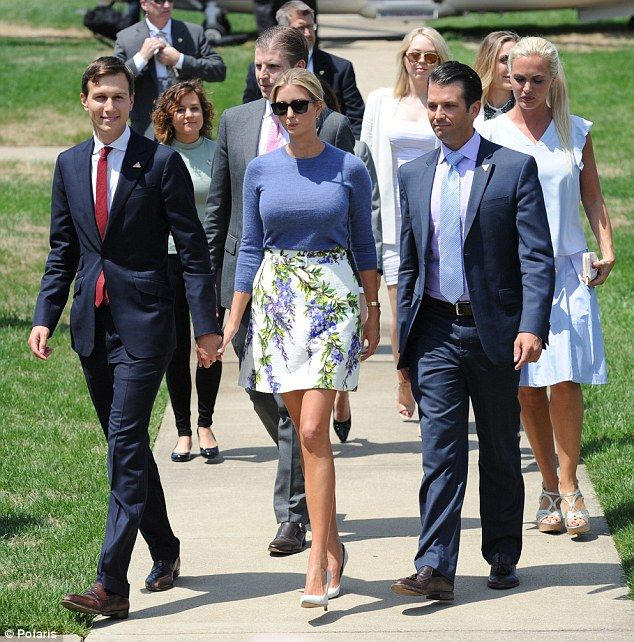 American royalty? Ivanka paired her elegant look with white pumps and black sunglasses whi...