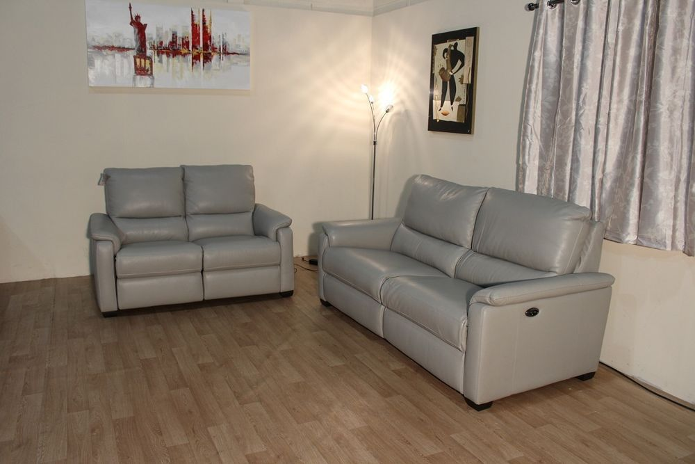 Ex Display Htl Grey Leather Electric Recliner 3 2 Seater Sofas Sofa Furniture 2 Seater Sofa