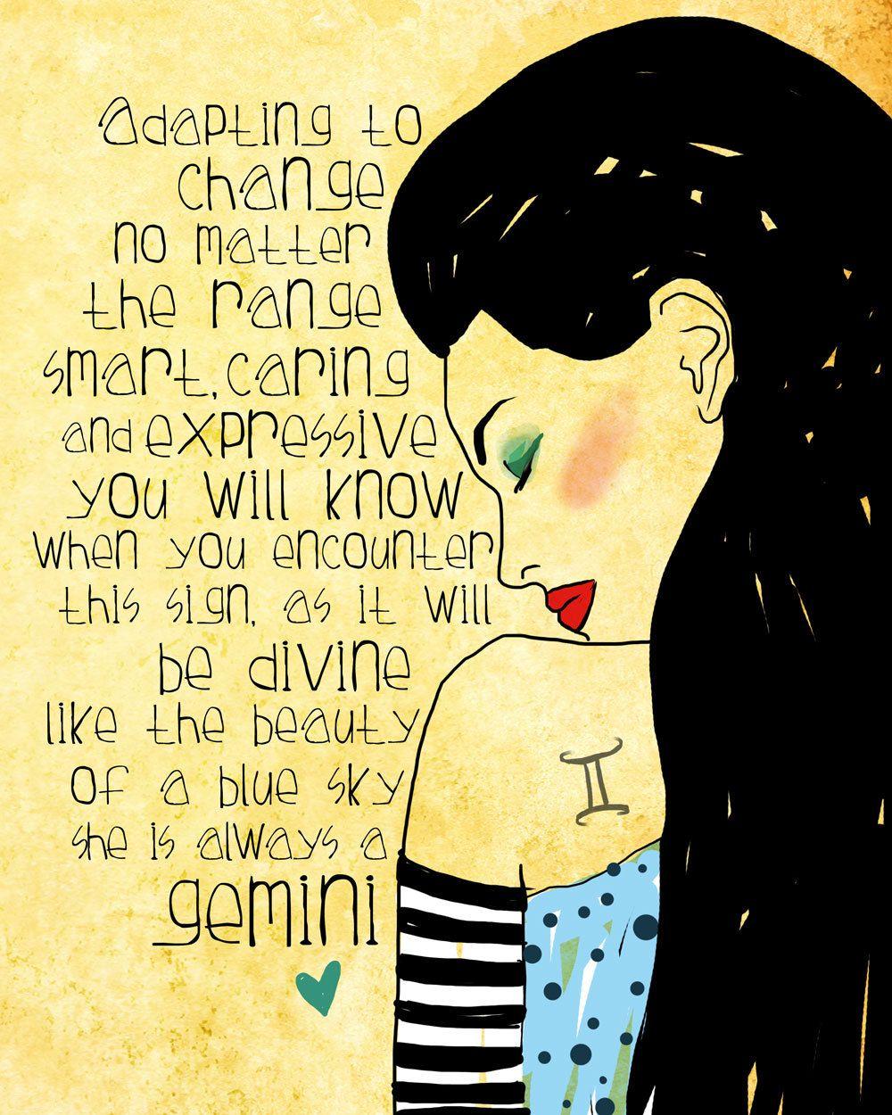Gemini art print air sign original illustration ART Print Hand