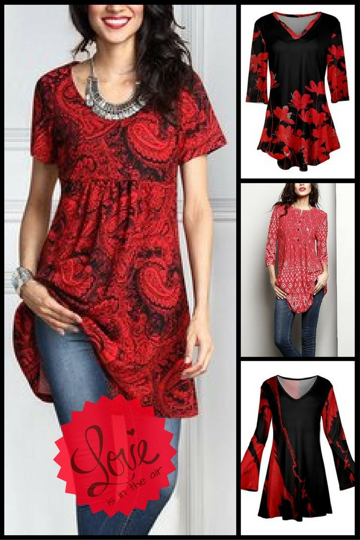 Comfy, sexy, dressy or casual.  Lots of designs and sizes and priced under $20. Cute for Valentine's Day. #Valentinesday #tunic #fashion #ad #oybpinners #020118