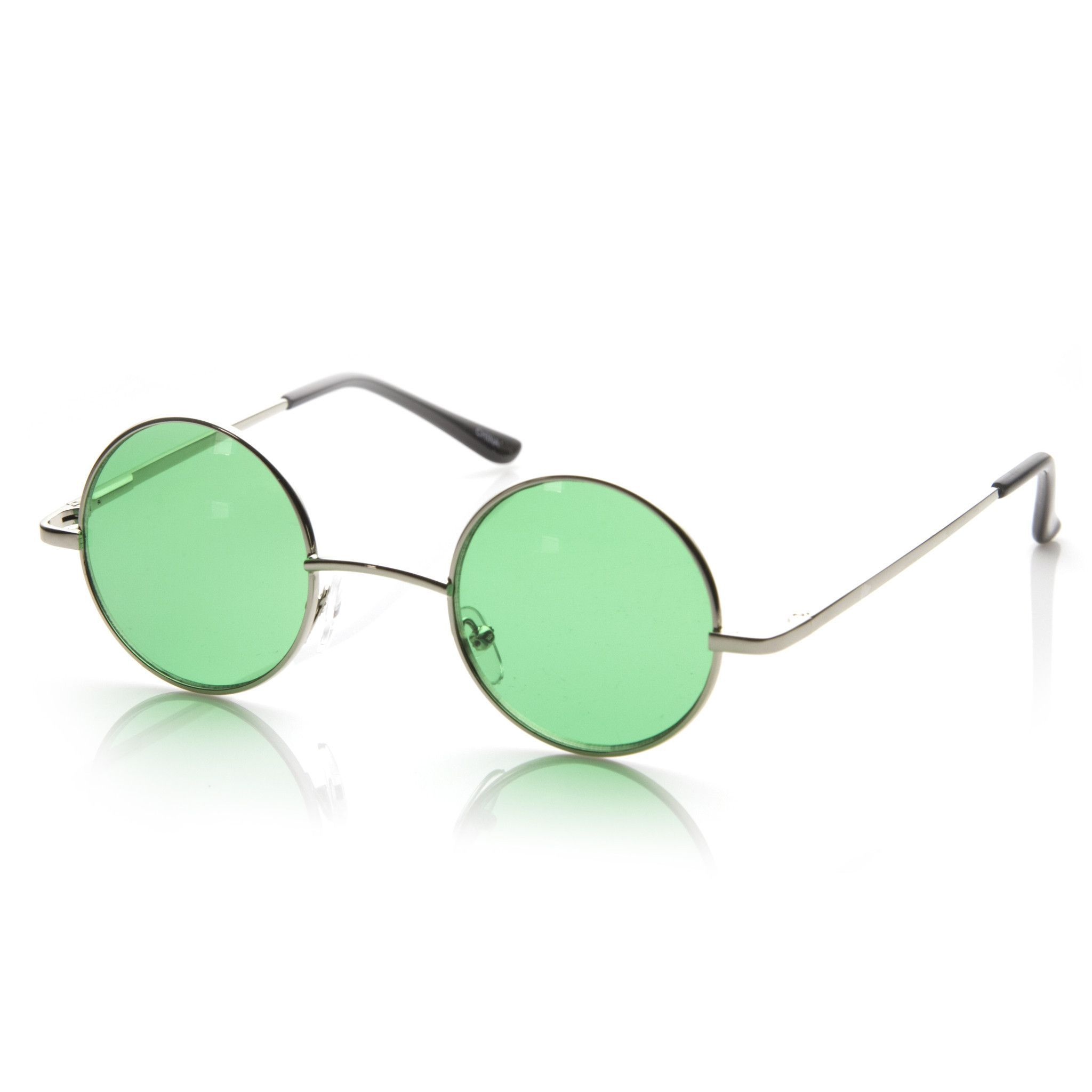 a0fe0bd95 Small Lennon Vintage Inspired Round Circle Color Lens Metal Sunglasses 8702