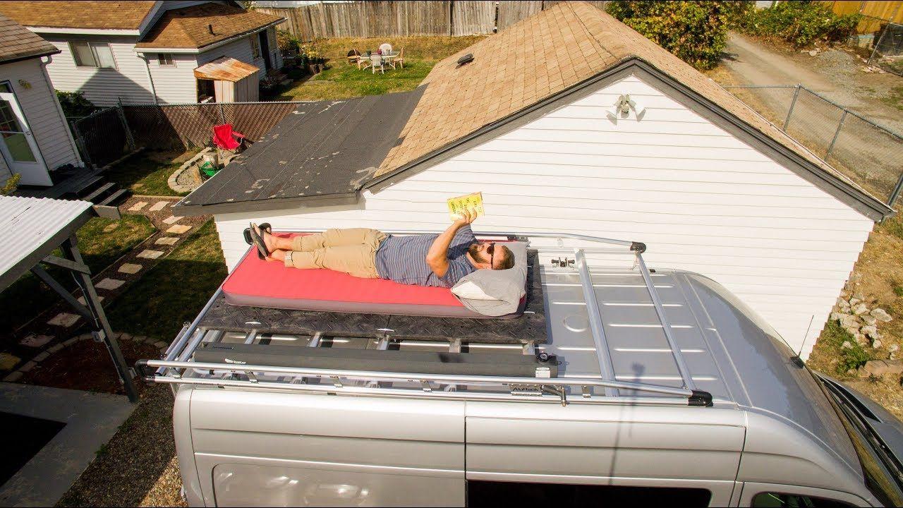 Diy Rooftop Deck For 25 Or Less Rooftop Deck Sprinter Van Rooftop