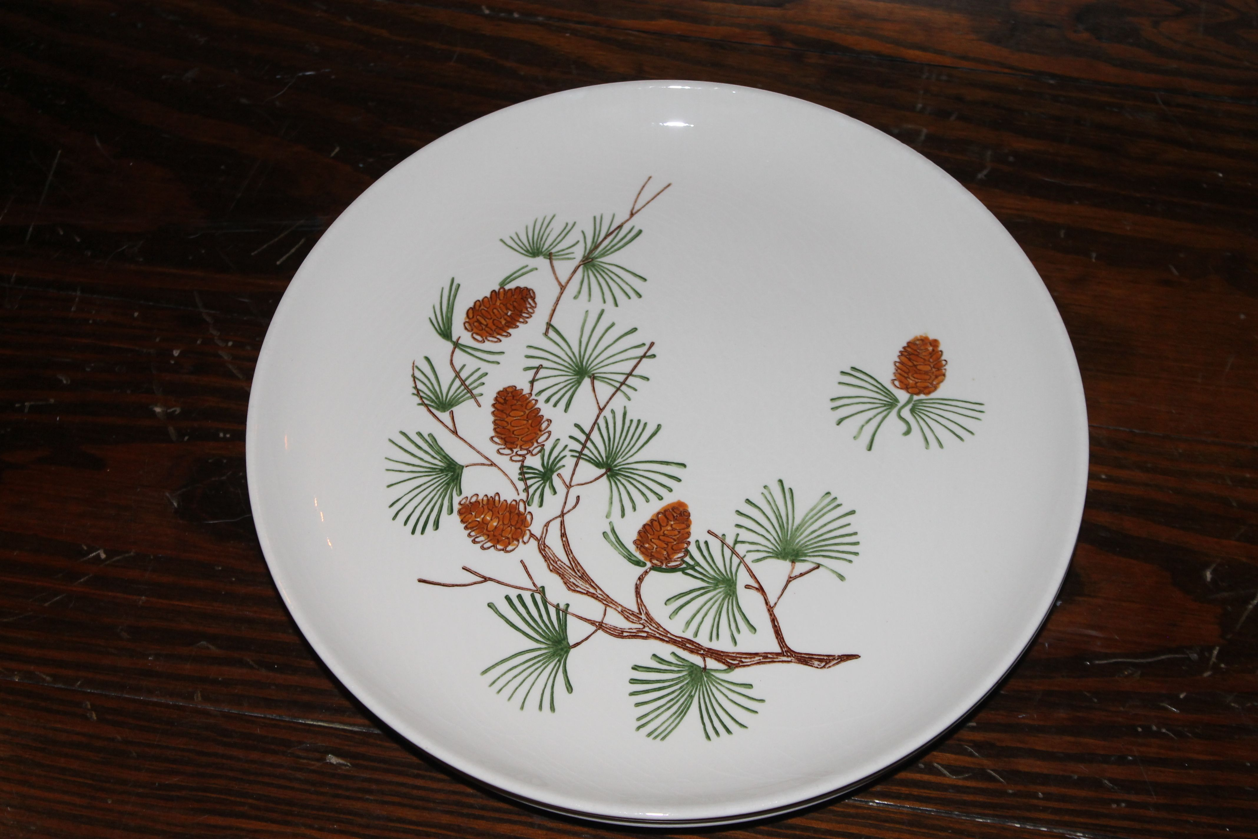 Ovenproof Dinnerware pinecones with green pine needles9.5  dinner plates 3 available & Ovenproof Dinnerware pinecones with green pine needles9.5