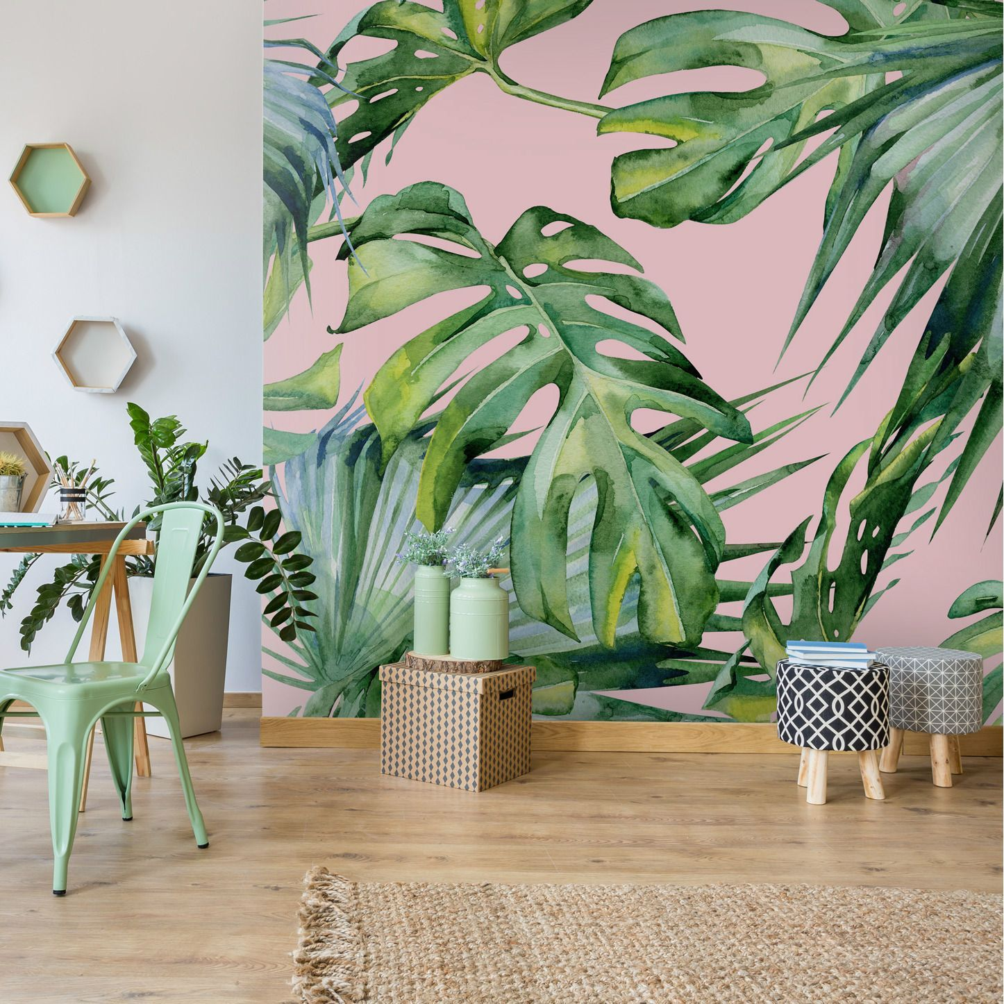 This Totally Beautiful And Oh So On Trend Jungle Print Wallpaper Will Infuse Your H Feature Wall Wallpaper Contemporary Wallpaper Designs Pink Jungle Wallpaper