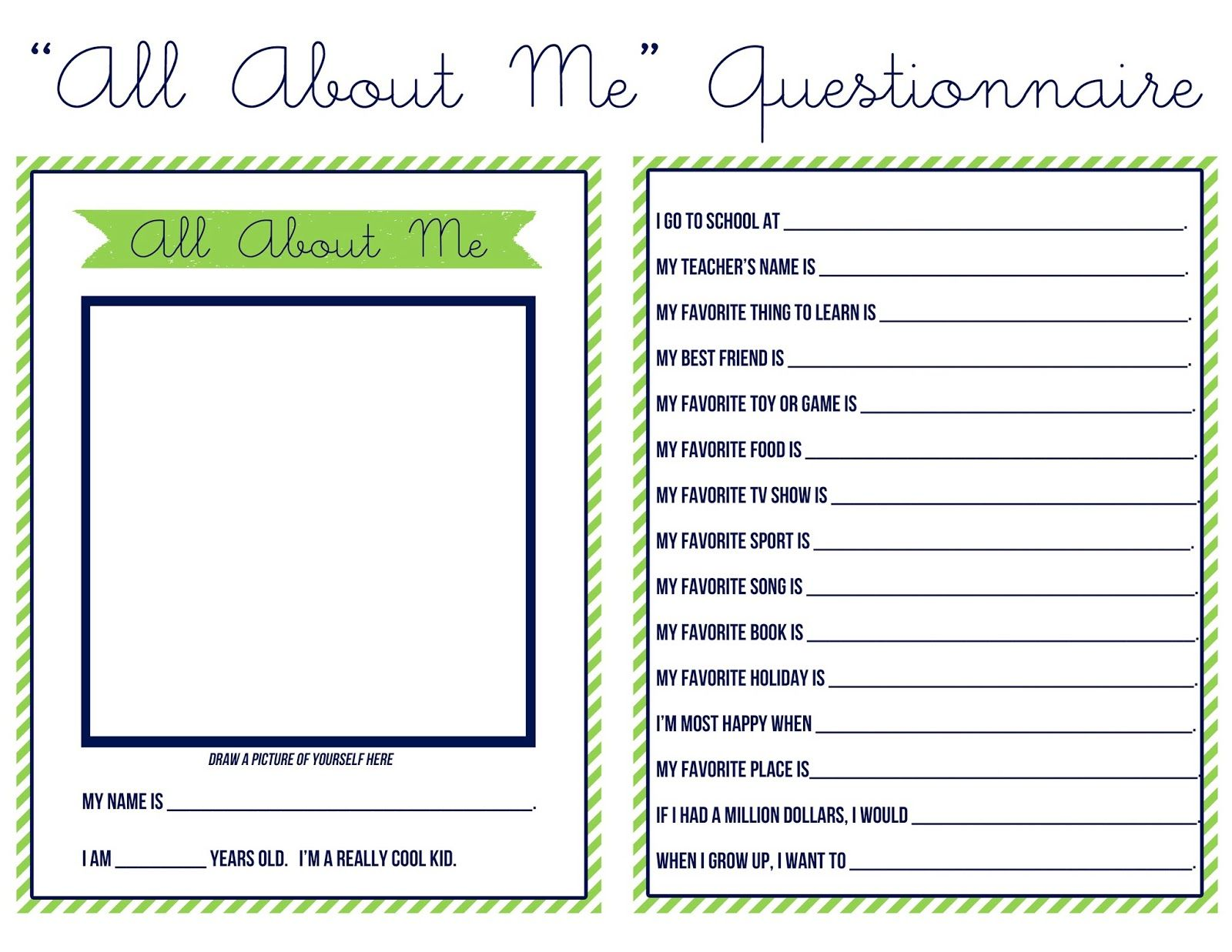 """Sweet Nothings """"ALL ABOUT ME"""" QUESTIONNAIRE Preschool"""