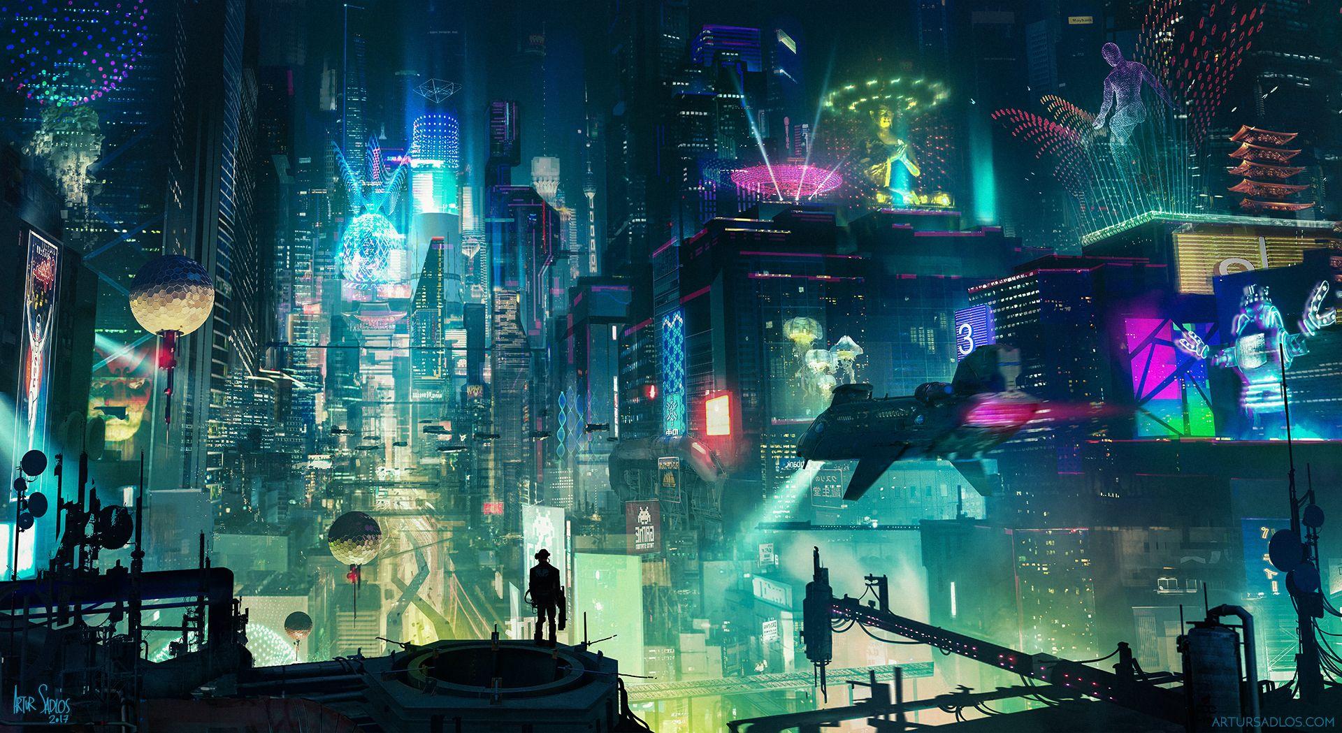 Cyberpunk City Digital 19x1080 Repin And Follow デジタル画 サイバーパンクシティ Sf 背景