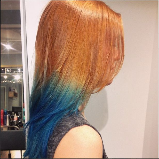 Redhead Hair With Blue Ombre Hair Dye Tips Dipped Hair Hair