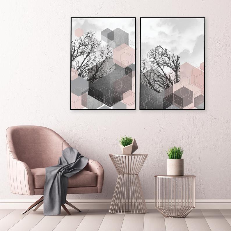 Geometric Abstract Printable Art Set Of 2 Blush Pink Grey Wall Art Downloadable Prints Digital Prints Pink Dark Grey Hexagon Art A1 18 X 24 Pink Grey Wall Art Grey Wall