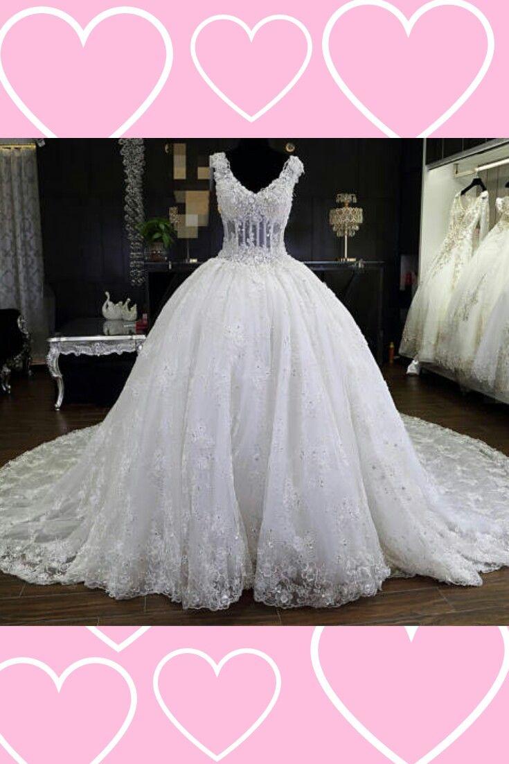 Wedding dress ball gown lace wedding dress long train wedding