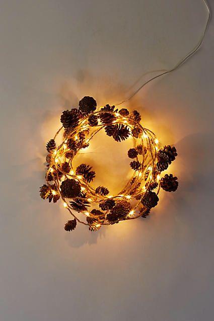 Anthropologie Stargazer Twine & Cones Copper Lights, 15\' Battery ...