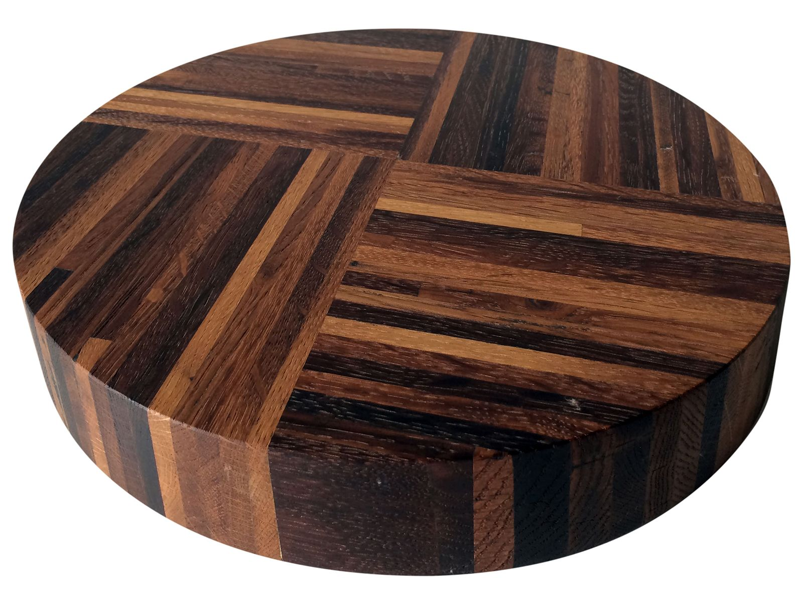 Add a bit of texture, style and convenience to your dining room table with this reclaimed wine oak turntable that's stained naturally by wine grapes. The quadripartite striping adds a fun visual effect to your table as your Lazy Susan spins.