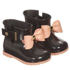 Mini Melissa - Girls Black 'Sugar Rain Bow' Boots | Childrensalon